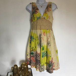 FREE PEOPLE yellow flowered dress